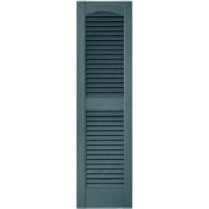 Builders Edge 12 In X 43 In Louvered Vinyl Exterior Home Depot Exterior Shutters
