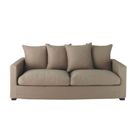 taupe sofas 3 seat sofa in taupe leonard leonard maisons du monde