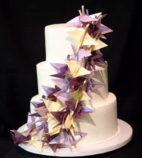 Cake Origami - origami cranes wedding cake this simple three tiered