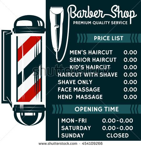 Barber Shop Vector Price List Template Stock Vector 454109266 Shutterstock Free Barber Shop Website Template