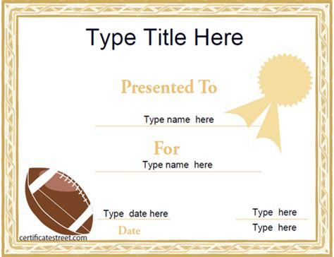 football certificate templates certificate free award certificate templates no