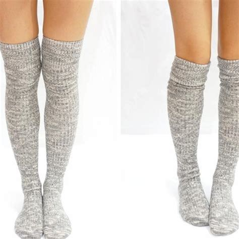 knit knee high socks grey knit knee high socks boot socks on luulla