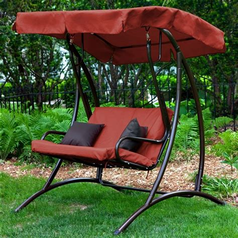 two seat swing canopy 2 seat outdoor porch swing with canopy in terracotta red