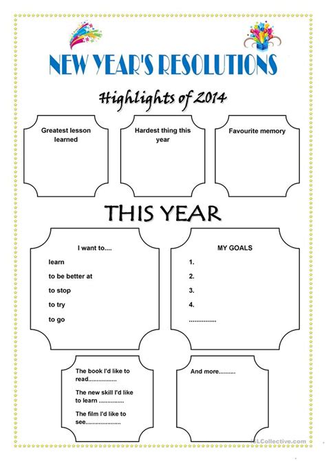 new year worksheets new year s resolutions worksheet free esl printable