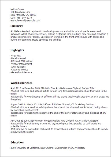 Gallery Assistant Cover Letter by Professional Gallery Assistant Templates To Showcase Your Talent Myperfectresume