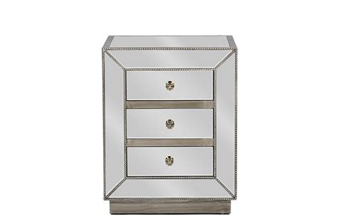 Affordable Mirrored Nightstand Baxton Studio Currin Contemporary Mirrored 3 Drawer Nightstand Affordable Modern Furniture In