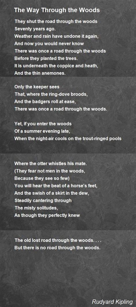 the way through the the way through the woods poem by rudyard kipling poem hunter