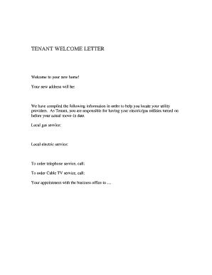 New Tenant Welcome Card Fill Online Printable Fillable