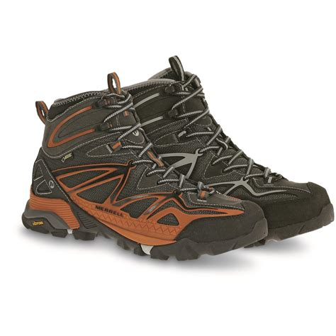 mens hiking boots clearance merrell s capra mid sport tex hiking boots