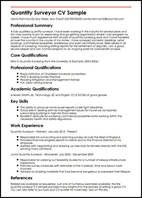 Sle Cover Letter For Fresh Graduate Quantity Surveyor Quantity Surveyor Cv Sle Myperfectcv