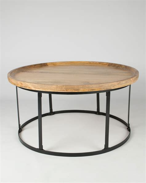 light wood table top industrial round coffee table with natural wood top and