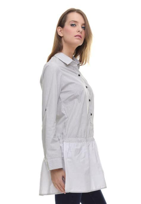 Pakaian Wanita Dress Salur regular fit kemeja wanita dress salur halus abu