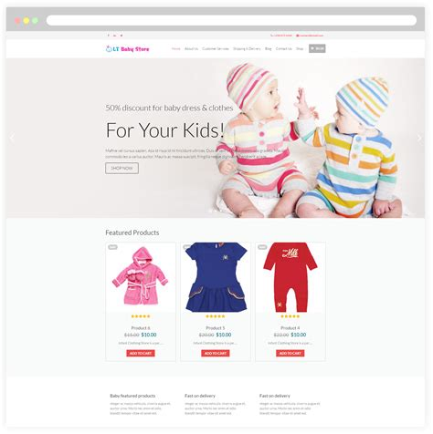 lt baby shop free responsive kids baby store wordpress