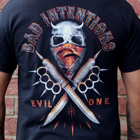 T Shirt Bad Evil bad intentions spiked brass knuckles knives t shirt evil