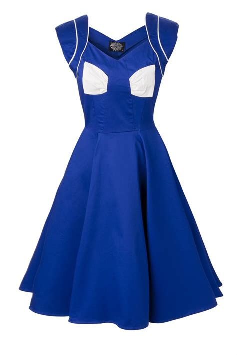 swing bow 50s royal blue swing dress white bow