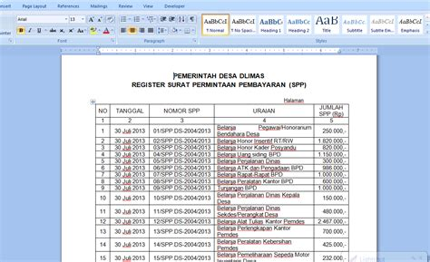 Contoh Surat Pemintaan contoh register surat pemintaan pembayaran uchavision