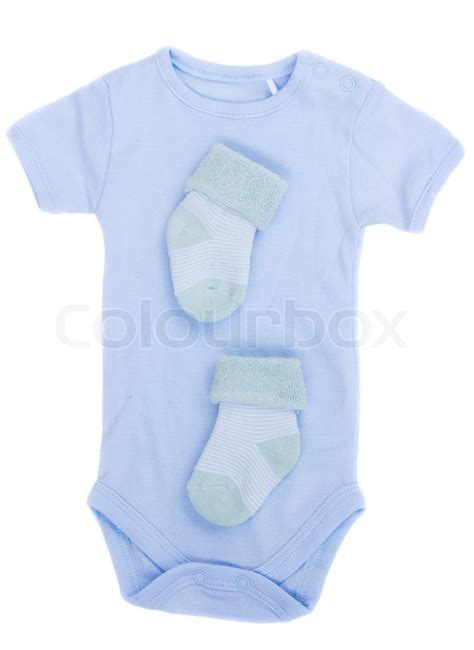 Baby S Trousseau Pale Blue Blue Baby Clothes Isolated On White Background Stock Photo Colourbox