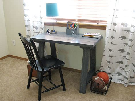 white simple small trestle desk diy projects