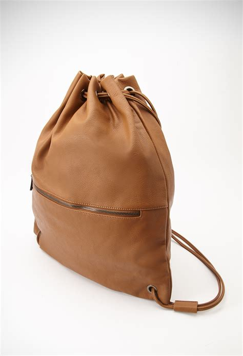 Handbags Wallets C 1 21 by Forever 21 Faux Leather Drawstring Backpack In Brown Lyst