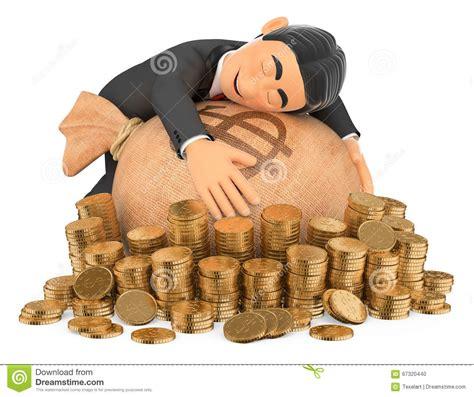 hug bank 3d tuxedo rich hugging his money stock illustration