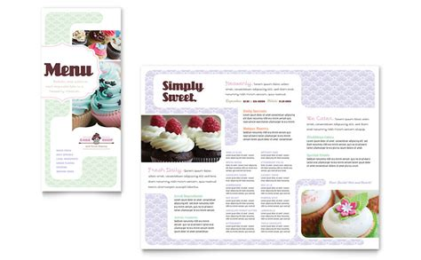 cupcake menu template bakery cupcake shop menu template word publisher