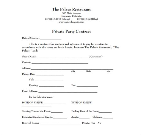 5 Restaurant Event Contract Templates For Restaurant Cafe And Bakery Psd Doc Free Restaurant Contract Template