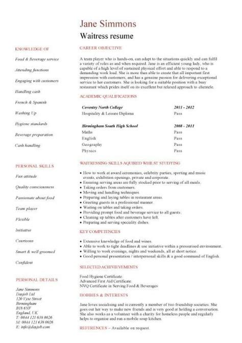 resume templates for waitress hospitality cv templates free downloadable hotel
