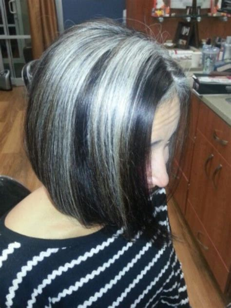 how to grow in gray hair with highlights growing out grey hair with highlights dark brown hairs