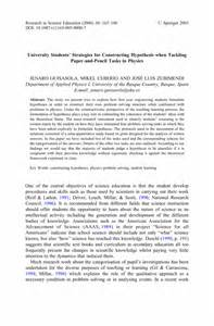 Hypothesis In Research Paper by Students Strategies For Constructing