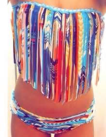 colorful bikinis swimwear aztec coat tribal pattern fringe