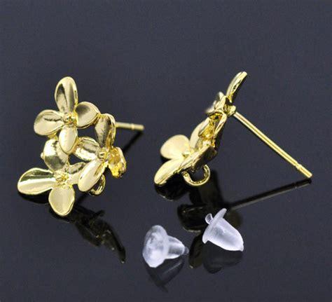 Flower Earring Stopper Belakang Anting aliexpress buy mjartoria 10pcs 5pair gold color flower earring post w stopper 15x14mm