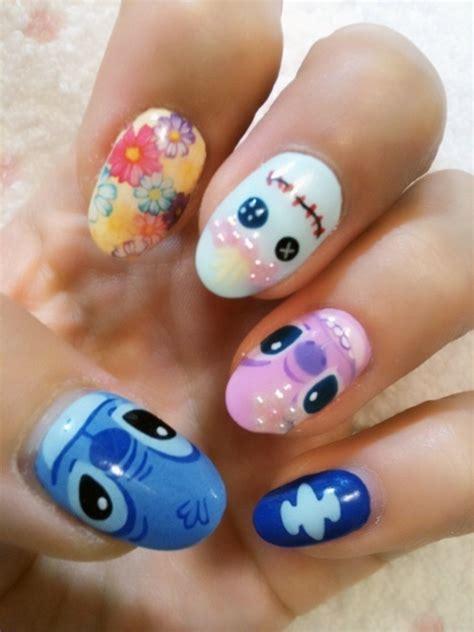 tutorial nail art stitch lilo and stitch nails fashion