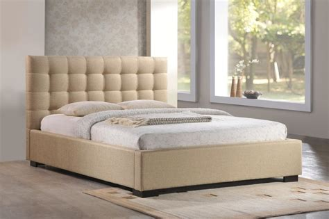 Fabric Platform Bed Cresent Tufted Upholstered Platform Bed In Beige Fabric Contemporary Platform Beds Other