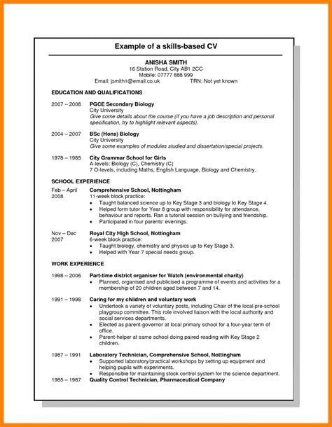 resume exles uk 7 skills based cv template uk science resume
