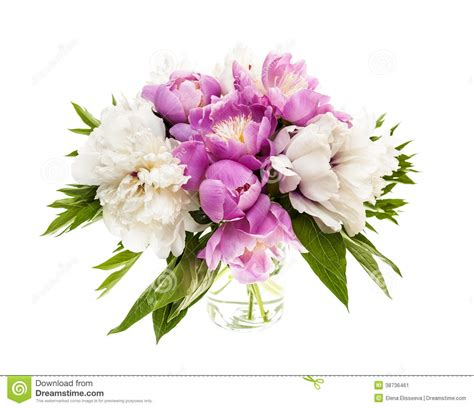 Bunch Of Flowers In A Vase Peony Flower Bouquet Isolated Stock Image Image 38736461