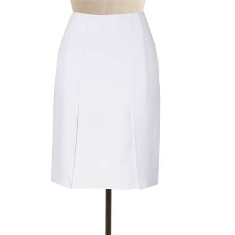 Whita Skirt white skirt with front kick pleats elizabeth s custom skirts