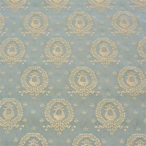 5 Yds Elegant Neoclassical Blue Lyre Wreath Upholstery