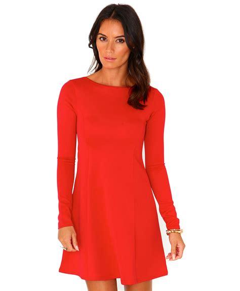 red swing dresses nicole scuba long sleeve swing dress in red