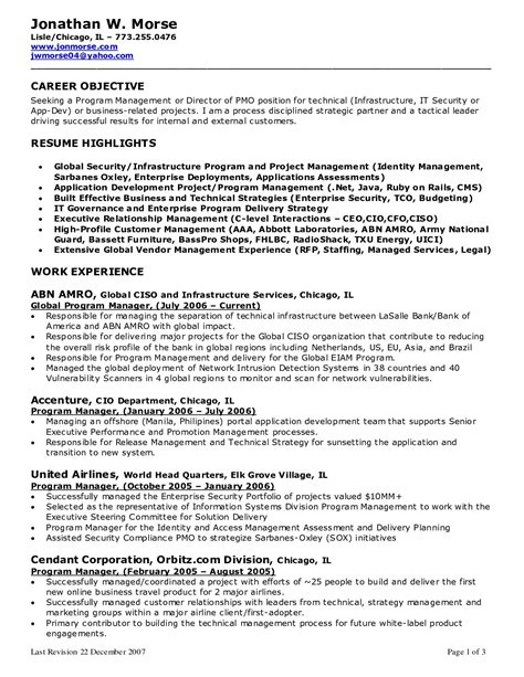 Resume Objective Manager manager resume objective it resume cover letter sle