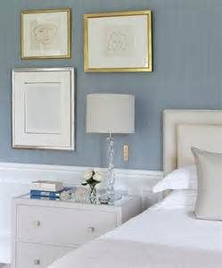 blue and grey bedrooms with wainscoting transitional