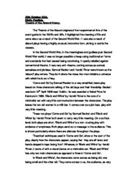 Board Of Studies Drama Essay by Theatre Of The Absurd Essay A Level Drama Marked By Teachers