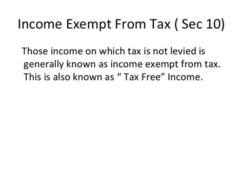 it section 10 exemptions lecture 4 income exempt from tax 5