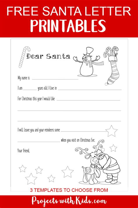 santa letter printable template projects kids
