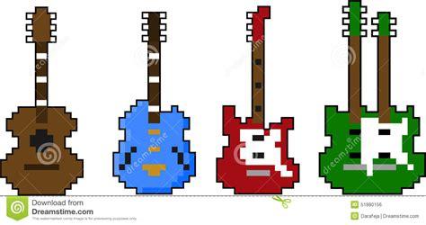 sistema arte sistema vector de la guitarra arte pixel