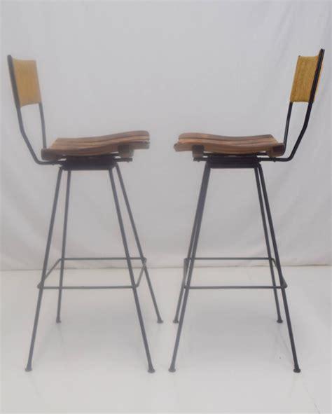 pair of arthur umanoff swivel bar stools at 1stdibs