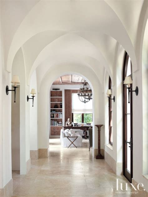hallway with pecky cypress ceiling cottage entrance foyer mediterranean white hallway with groin vaulted ceiling