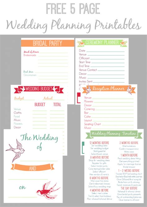 free online printable wedding planner 30 page wedding planning printable set bread booze bacon