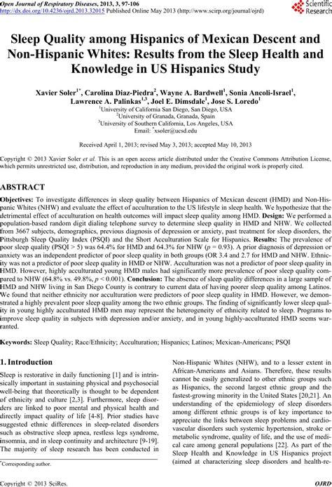 sleep quality journal sleep quality among hispanics of mexican descent and non