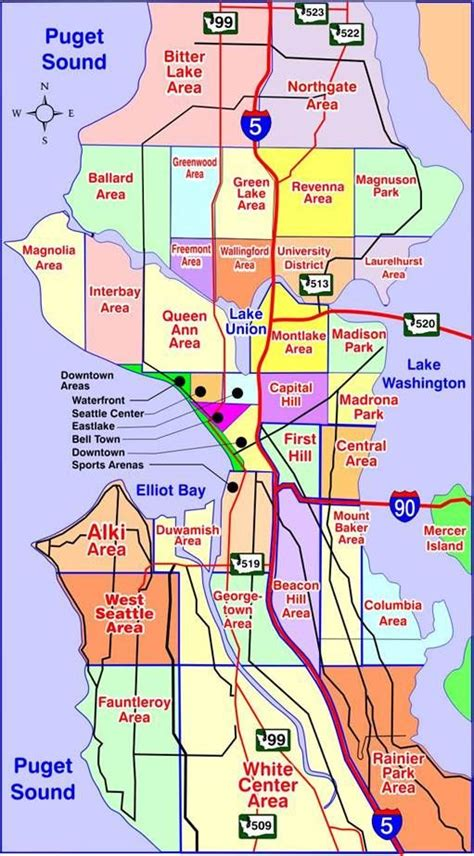 sections of seattle map of seattle washington neighborhoods many of our