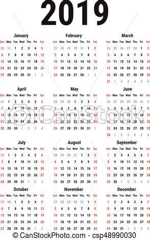 Calendario 2019 Italiano Calendario 2019 Semana Simple Comienzos Blanco Fondo